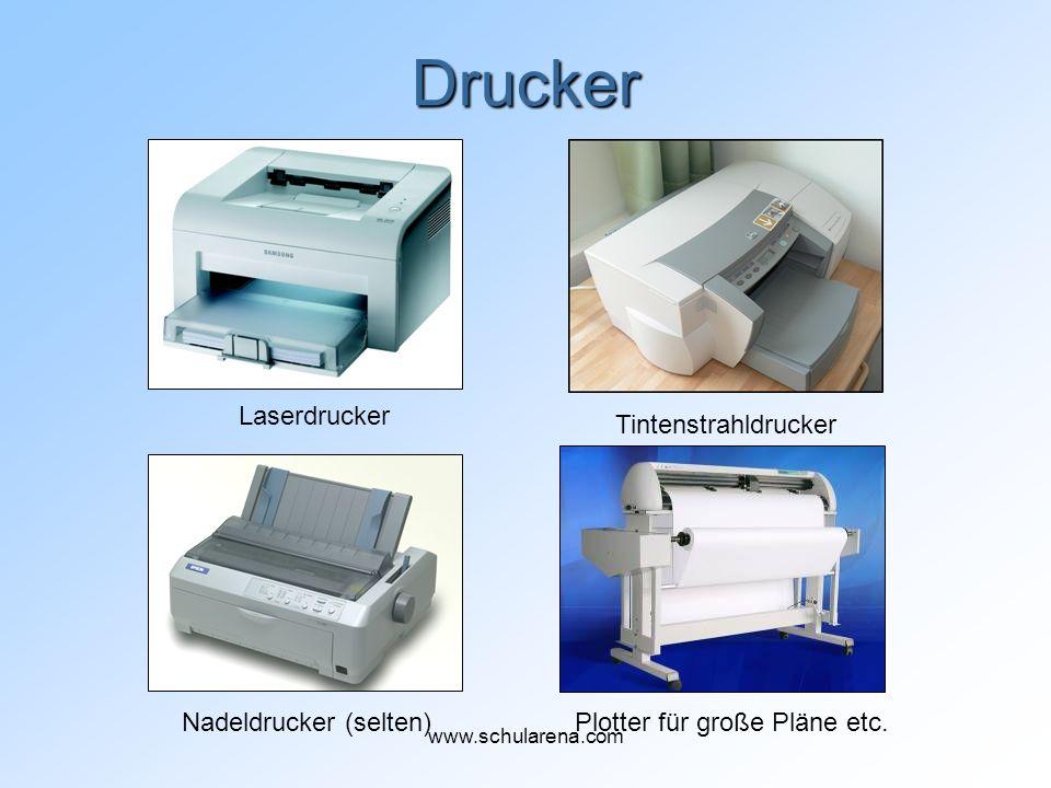 Drucker Laserdrucker Tintenstrahldrucker Nadeldrucker (selten)Plotter für große Pläne etc. www.schularena.com