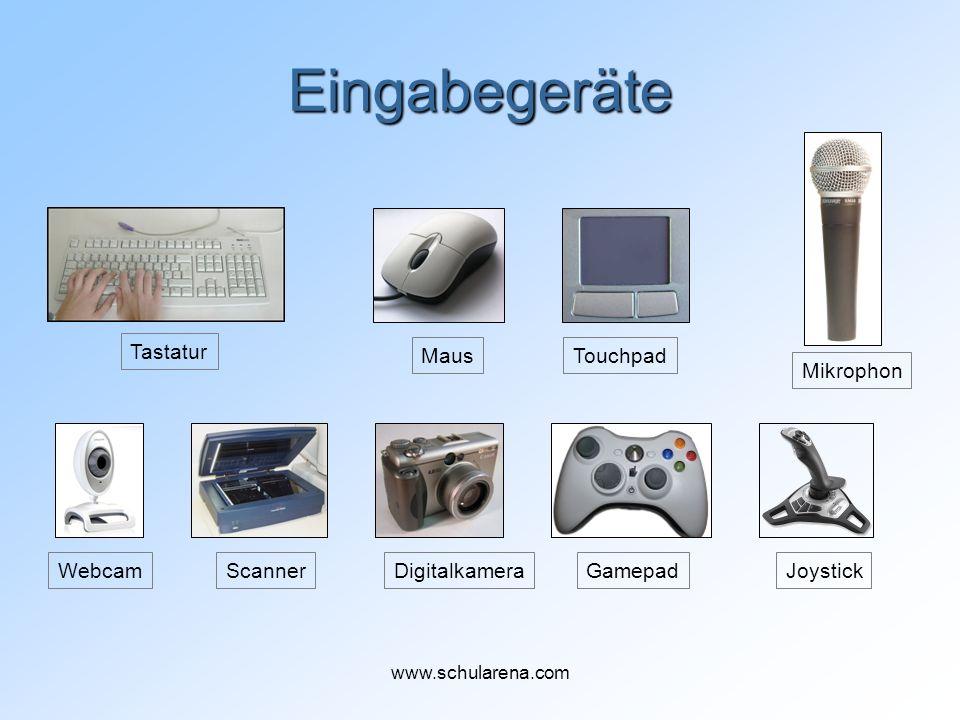 Eingabegeräte Tastatur MausTouchpad WebcamJoystickGamepad Mikrophon ScannerDigitalkamera www.schularena.com