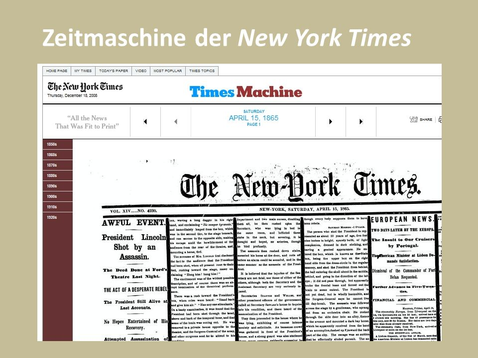 Zeitmaschine der New York Times