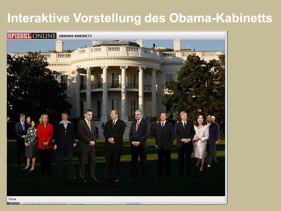 Interaktive Vorstellung des Obama-Kabinetts