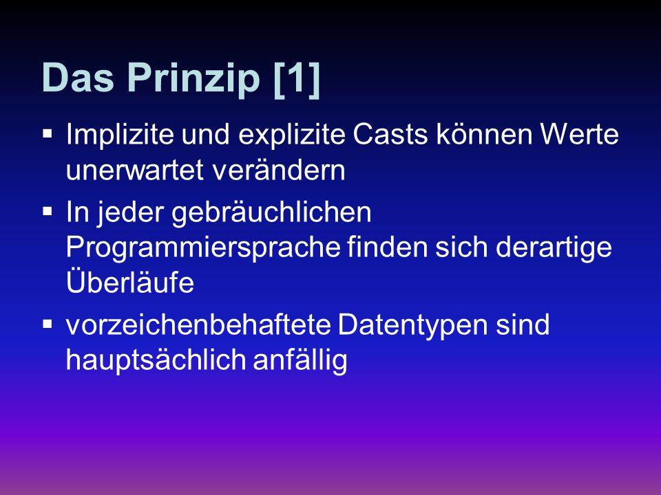 Das Prinzip [1] Implizite und explizite Casts können Werte unerwartet verändern In jeder gebräuchlichen Programmiersprache finden sich derartige Überl