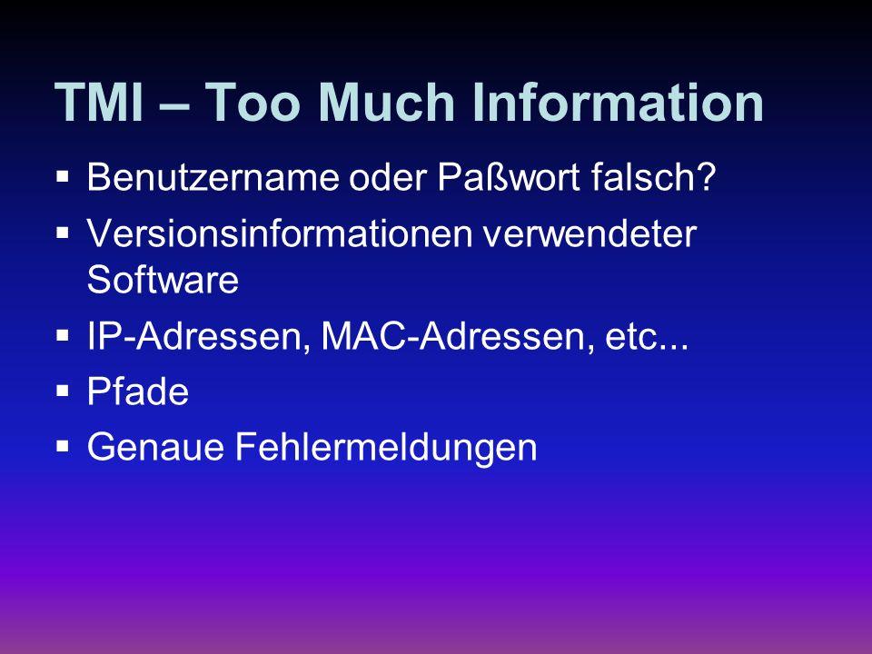 TMI – Too Much Information Benutzername oder Paßwort falsch? Versionsinformationen verwendeter Software IP-Adressen, MAC-Adressen, etc... Pfade Genaue