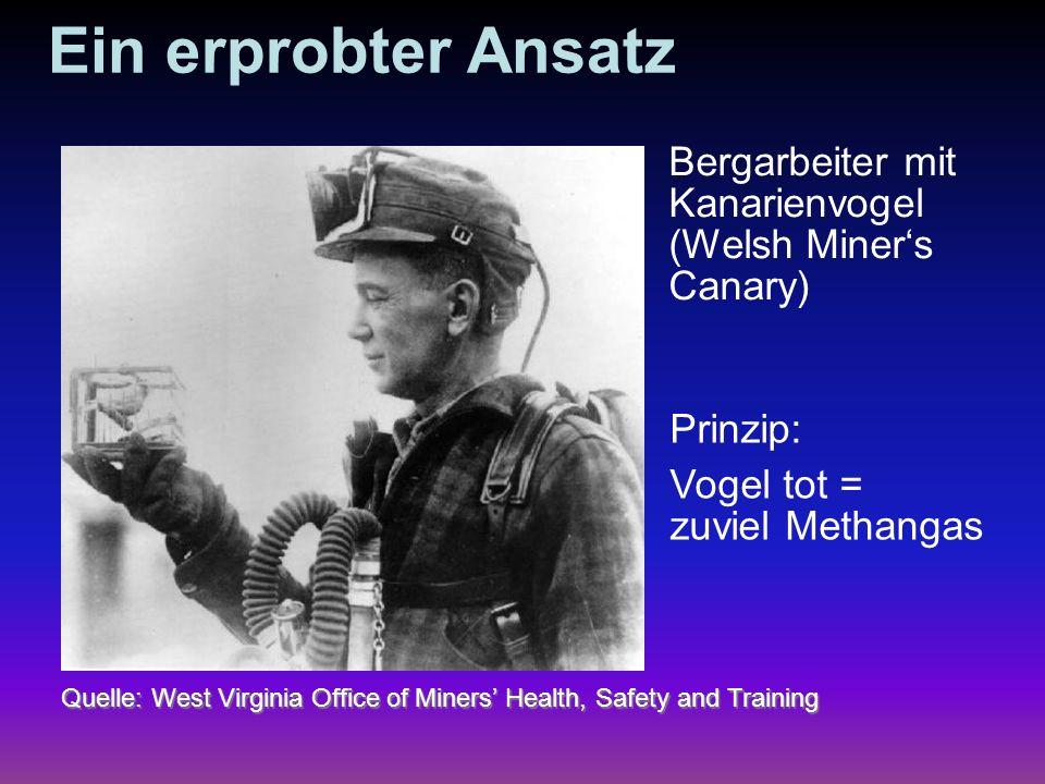 Ein erprobter Ansatz Quelle: West Virginia Office of Miners Health, Safety and Training Bergarbeiter mit Kanarienvogel (Welsh Miners Canary) Prinzip: