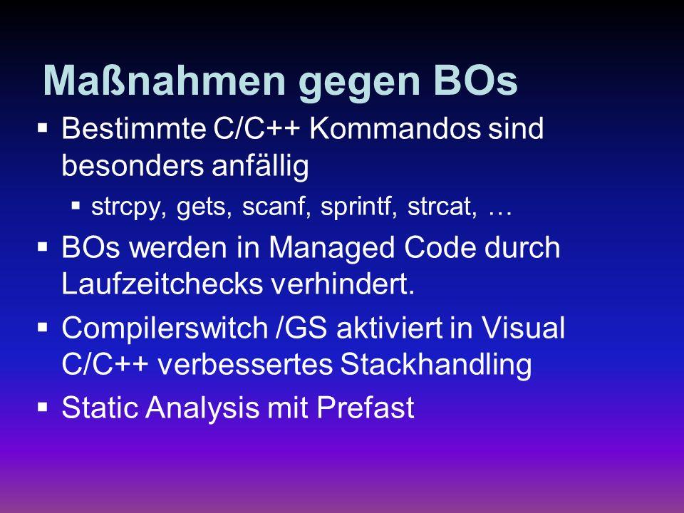 Spot the security Bug string status = No ; string sqlstring = ; try { // SQL Zugriffscode // SQL Zugriffscode } catch (SqlException se) { Status = sqlstring + failed\r\n ; Status = sqlstring + failed\r\n ; foreach (SqlError e in se.Errors) foreach (SqlError e in se.Errors) Status += e.Message + \r\n ; Status += e.Message + \r\n ;} if (Status.CompareTo( No ) != 0) { Response.WriteLine(Status); Response.WriteLine(Status);}