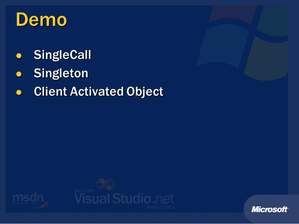Demo SingleCall SingleCall Singleton Singleton Client Activated Object Client Activated Object