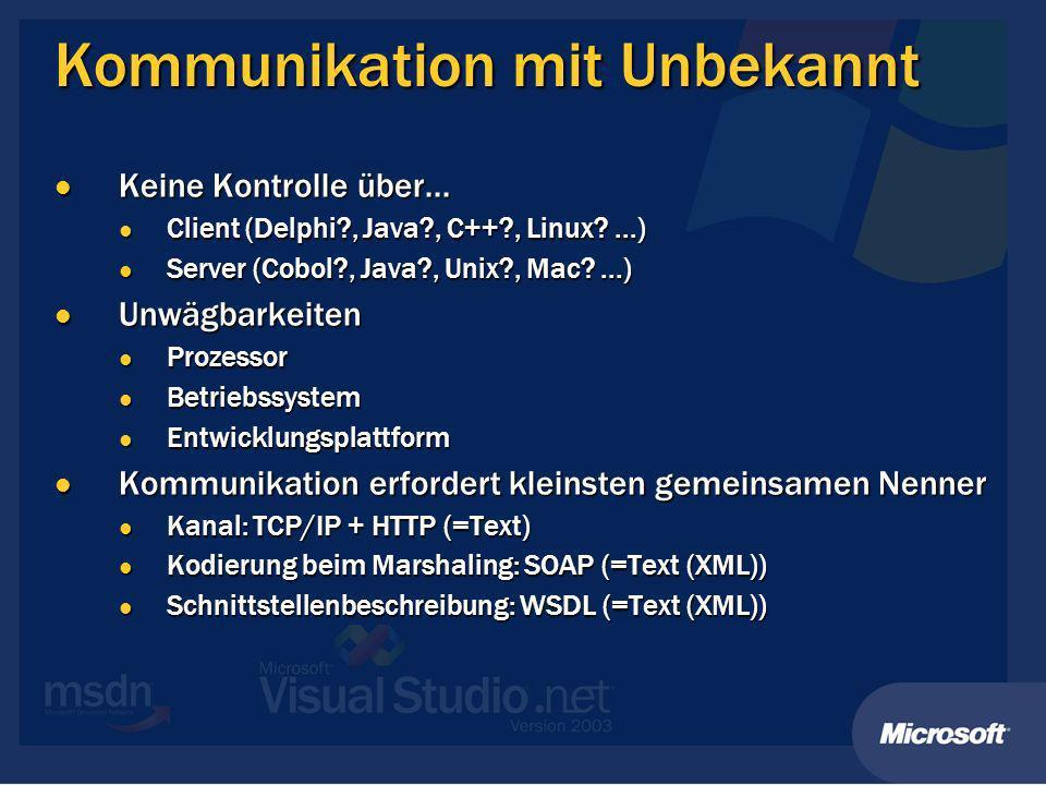Veröffentlichung von Diensten.NET Remoting.NET Remoting HTTP-Kanal HTTP-Kanal SOAP-Formatierer SOAP-Formatierer XML Web Services XML Web Services ASP.NET Seite ASP.NET Seite Definiert Methoden Definiert Methoden Typen müssen serialisierbar sein Typen müssen serialisierbar sein Immer SingleCall Immer SingleCall Host ist IIS Host ist IIS