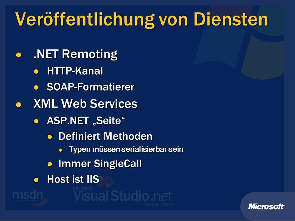 XML Web Services definieren Service-Klasse Service-Klasse Kennzeichnen mit [WebService] Kennzeichnen mit [WebService] Ableiten von System.Web.Services.WebService Ableiten von System.Web.Services.WebService Service-Methode Service-Methode Kennzeichnen mit [WebMethod] Kennzeichnen mit [WebMethod] Transaktionen möglich Transaktionen möglich WSDL wird automatisch generiert WSDL wird automatisch generiert