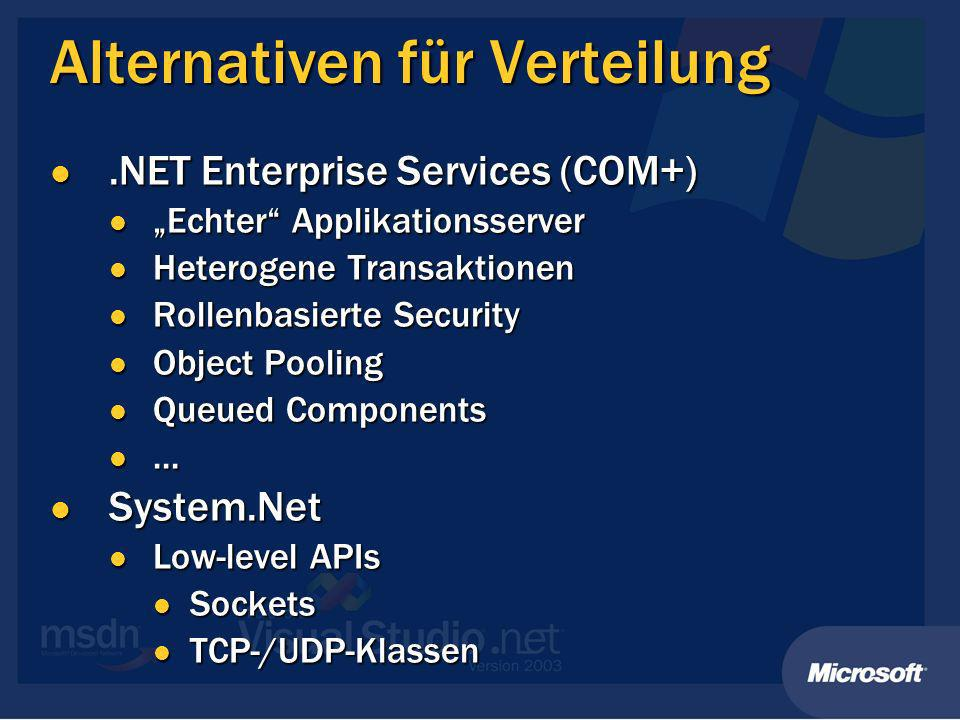 Alternativen für Verteilung.NET Enterprise Services (COM+).NET Enterprise Services (COM+) Echter Applikationsserver Echter Applikationsserver Heterogene Transaktionen Heterogene Transaktionen Rollenbasierte Security Rollenbasierte Security Object Pooling Object Pooling Queued Components Queued Components......