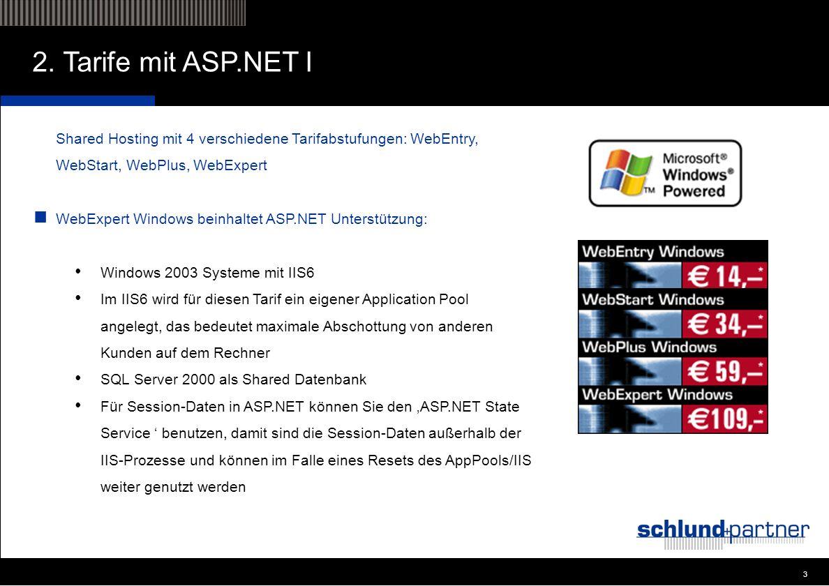 3 3 2. Tarife mit ASP.NET I Shared Hosting mit 4 verschiedene Tarifabstufungen: WebEntry, WebStart, WebPlus, WebExpert WebExpert Windows beinhaltet AS