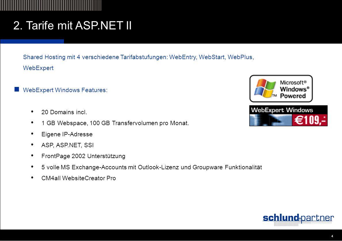 4 4 2. Tarife mit ASP.NET II Shared Hosting mit 4 verschiedene Tarifabstufungen: WebEntry, WebStart, WebPlus, WebExpert WebExpert Windows Features: 20