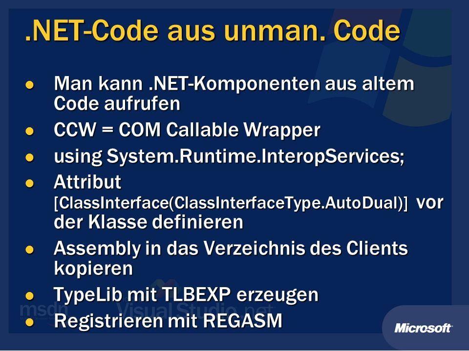 .NET-Code aus unman.