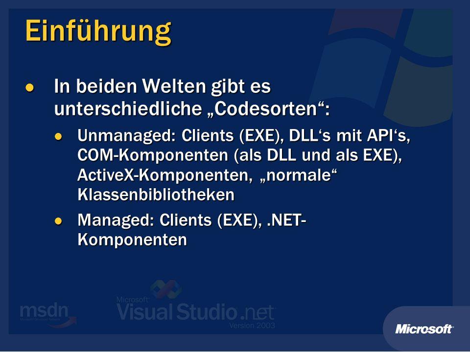 Einführung In beiden Welten gibt es unterschiedliche Codesorten: In beiden Welten gibt es unterschiedliche Codesorten: Unmanaged: Clients (EXE), DLLs mit APIs, COM-Komponenten (als DLL und als EXE), ActiveX-Komponenten, normale Klassenbibliotheken Unmanaged: Clients (EXE), DLLs mit APIs, COM-Komponenten (als DLL und als EXE), ActiveX-Komponenten, normale Klassenbibliotheken Managed: Clients (EXE),.NET- Komponenten Managed: Clients (EXE),.NET- Komponenten