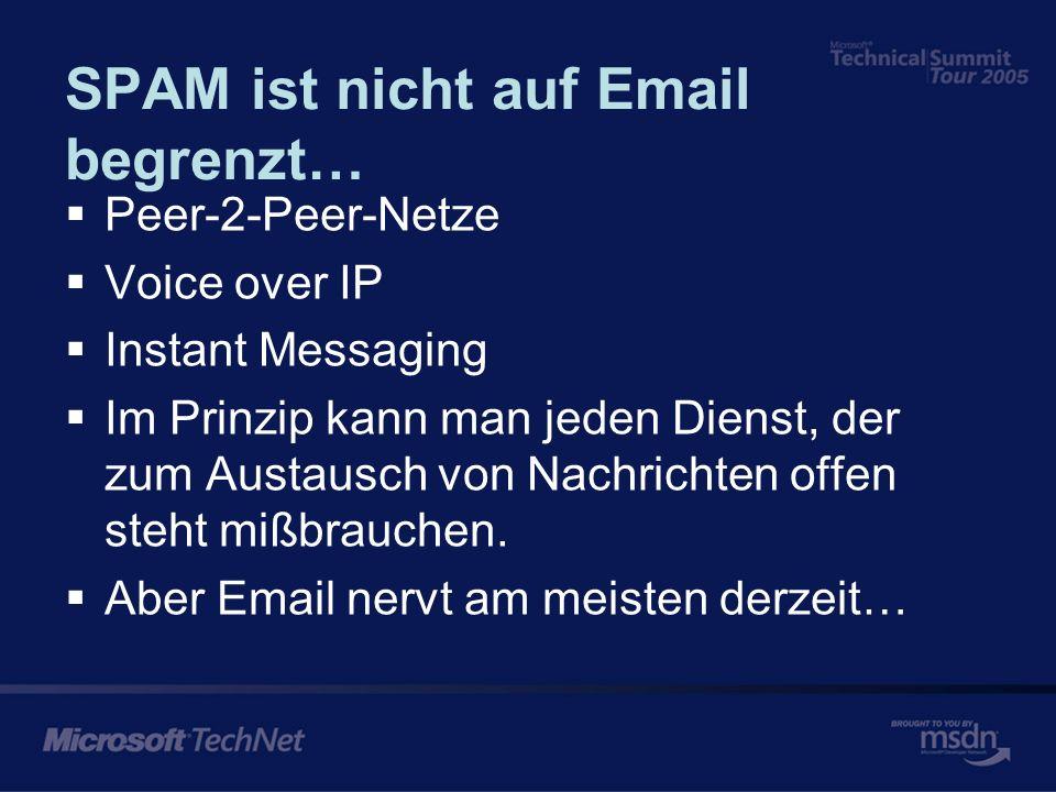 SPAM ist nicht auf Email begrenzt… Peer-2-Peer-Netze Voice over IP Instant Messaging Im Prinzip kann man jeden Dienst, der zum Austausch von Nachrichten offen steht mißbrauchen.