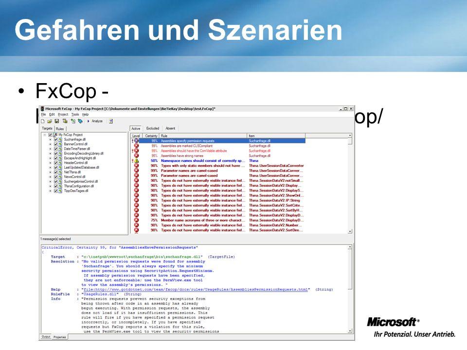 Gefahren und Szenarien FxCop - http://www.gotdotnet.com/team/fxcop/