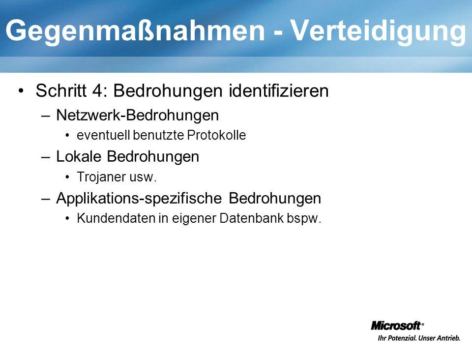 Gegenmaßnahmen - Verteidigung Schritt 4: Bedrohungen identifizieren –Netzwerk-Bedrohungen eventuell benutzte Protokolle –Lokale Bedrohungen Trojaner usw.