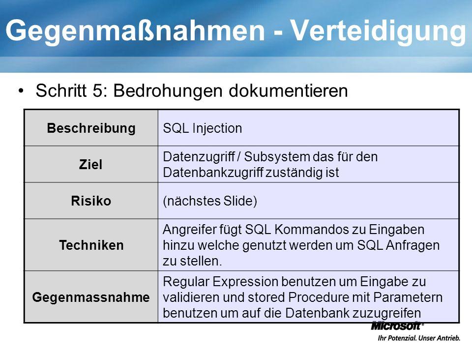 Gegenmaßnahmen - Verteidigung Schritt 5: Bedrohungen dokumentieren BeschreibungSQL Injection Ziel Datenzugriff / Subsystem das für den Datenbankzugriff zuständig ist Risiko(nächstes Slide) Techniken Angreifer fügt SQL Kommandos zu Eingaben hinzu welche genutzt werden um SQL Anfragen zu stellen.