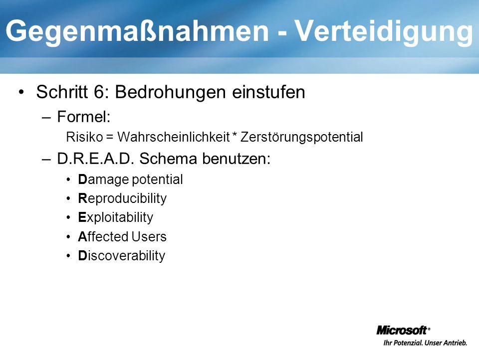 Gegenmaßnahmen - Verteidigung Schritt 6: Bedrohungen einstufen –Formel: Risiko = Wahrscheinlichkeit * Zerstörungspotential –D.R.E.A.D. Schema benutzen