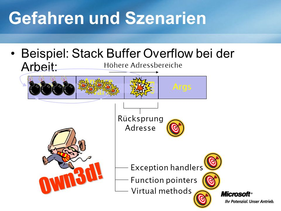 Gefahren und Szenarien Beispiel: Stack Buffer Overflow bei der Arbeit: Höhere Adressbereiche Buffers Andere vars EBPEIP Args Rücksprung Adresse Exception handlers Function pointers Virtual methods 0wn3d!