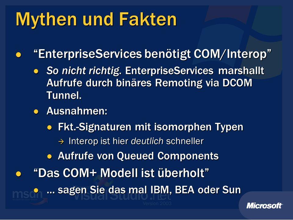 Mythen und Fakten EnterpriseServices benötigt COM/Interop EnterpriseServices benötigt COM/Interop So nicht richtig. EnterpriseServices marshallt Aufru