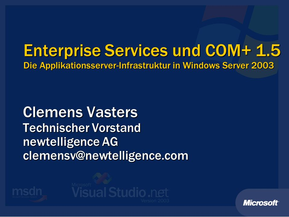 [InterfaceQueuing] Server Applikation ClientClient Proxy Dim comp As SampleComp comp = Marshal.BindToMoniker(queue:new:progid) comp.MakeCall() Dim comp As SampleComp comp = Marshal.BindToMoniker(queue:new:progid) comp.MakeCall() RPC Msg Anwendungsszenarien Asynchrone Entkopplung Asynchrone Entkopplung Skalierbarkeit.