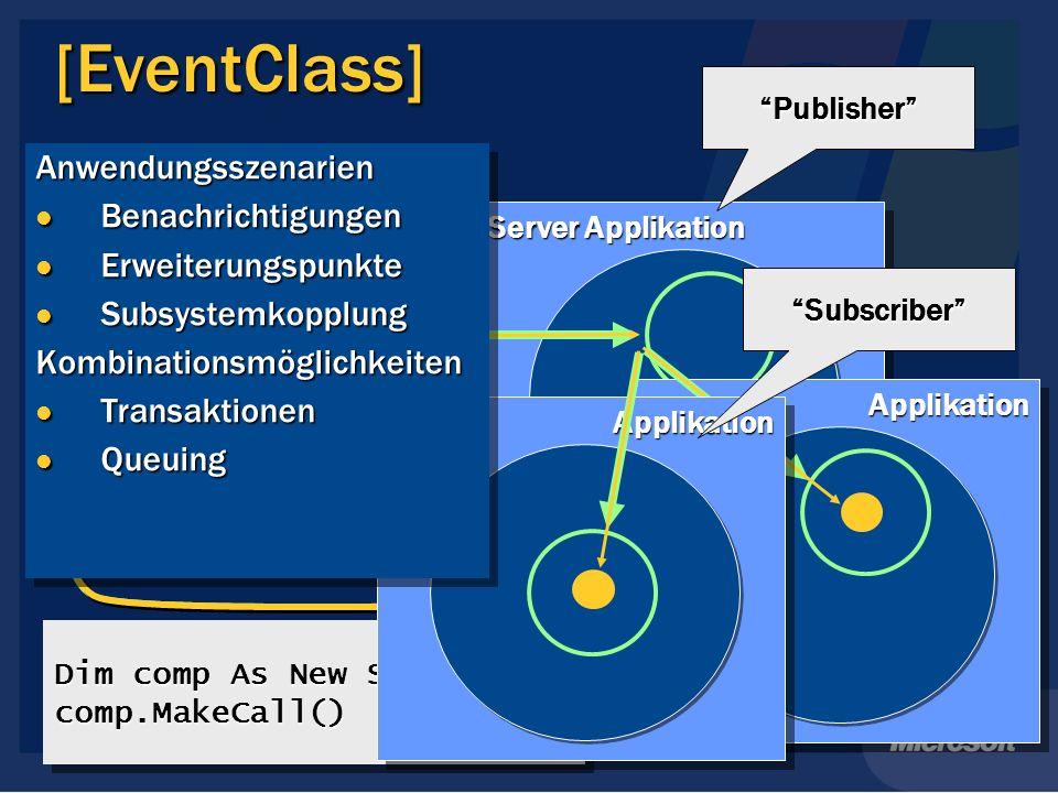 [EventClass] Server Applikation ClientClient Proxy Dim comp As New SampleComp comp.MakeCall() comp.MakeCall() ApplikationApplikation Publisher Applika
