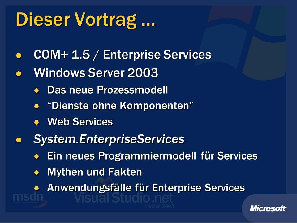 Prozessgrenzen sind sicherer BrowserBrowser ASP.NETASP.NET Enterprise Services Applikation SQL Server Anonym Network- Service Service Konto RFC2617 Auth Windows SSPI ADO.NET ComponentComponent ComponentComponent ComponentComponent ComponentComponent ComponentComponent ComponentComponent Serviced Component Identität: DOMAENE/Konto ACL PrincipalPermission Rollen Rollen Gruppen Integrated Security=SSPI