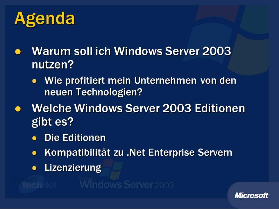 Agenda Warum soll ich Windows Server 2003 nutzen. Warum soll ich Windows Server 2003 nutzen.