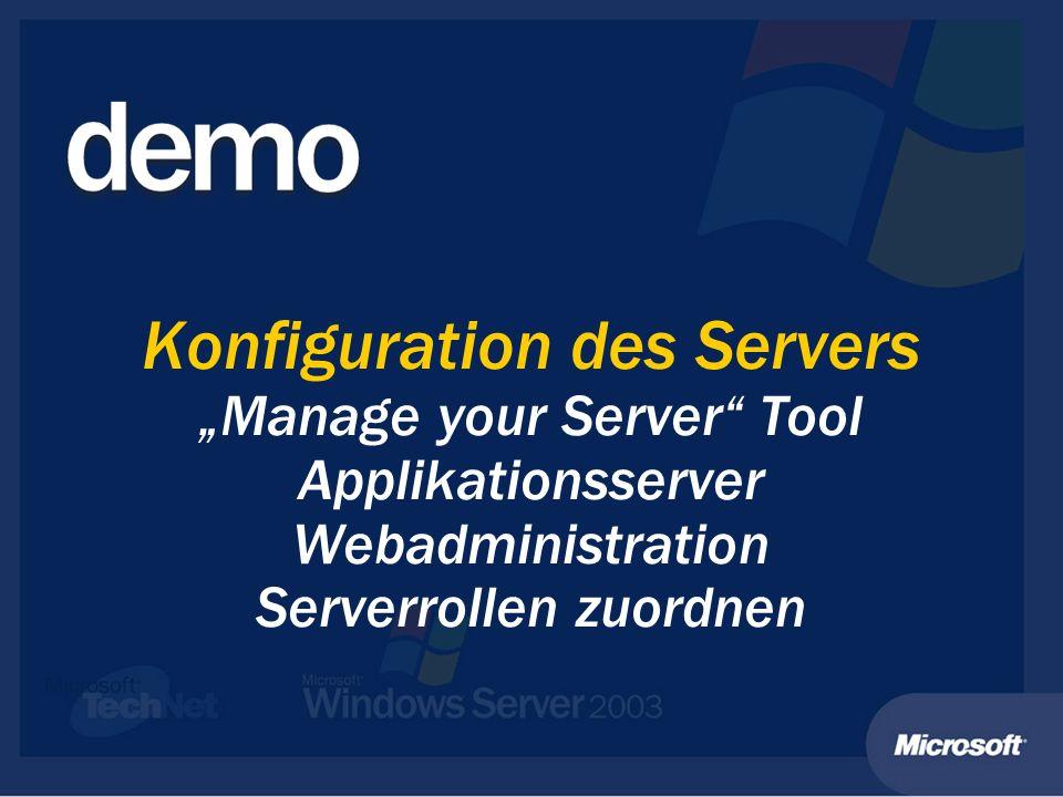 Windows Server 2003 und die.Net Enterprise Server Weitere kompatible Server: Weitere kompatible Server: Application Center Server 2000 + SP2 Application Center Server 2000 + SP2 BizTalk Server 2002 BizTalk Server 2002 Commerce Server 2002 (CS) + SP2 Commerce Server 2002 (CS) + SP2 Content Management Server 2002 (CMS) + SP Content Management Server 2002 (CMS) + SP Great Plains 6/7 Great Plains 6/7 Host Integration Server 2000 (HIS) + SP1 Host Integration Server 2000 (HIS) + SP1 ISA Server 2000 + SP1 ISA Server 2000 + SP1 Operations Management Server 2000 (MOM) + SP1 Operations Management Server 2000 (MOM) + SP1 Navision Attain 3.6/3.7, Axapta 3 + SP1 Navision Attain 3.6/3.7, Axapta 3 + SP1 SQL Server 2000 + SP3 SQL Server 2000 + SP3 System Management Server 2.0 (SMS) + SP4 System Management Server 2.0 (SMS) + SP4 System Management Server 2003 System Management Server 2003
