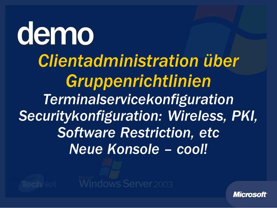 Anhang: Weitere Informationen Liste der Neuheiten/ Veränderungen http://www.microsoft.com/germany/ms/windowsserver2003/neues/ Liste der Neuheiten/ Veränderungen http://www.microsoft.com/germany/ms/windowsserver2003/neues/ http://www.microsoft.com/germany/ms/windowsserver2003/neues/ Unterschiede zwischen den einzelnen Editionen http://www.microsoft.com/germany/ms/windowsserver2003/solution s/index.asp Unterschiede zwischen den einzelnen Editionen http://www.microsoft.com/germany/ms/windowsserver2003/solution s/index.asp http://www.microsoft.com/germany/ms/windowsserver2003/solution s/index.asp http://www.microsoft.com/germany/ms/windowsserver2003/solution s/index.asp Bücher zu Windows Server 2003 http://www.microsoft.com/germany/ms/windowsserver2003/warum/ publikationen/index.htm Bücher zu Windows Server 2003 http://www.microsoft.com/germany/ms/windowsserver2003/warum/ publikationen/index.htm http://www.microsoft.com/germany/ms/windowsserver2003/warum/ publikationen/index.htm http://www.microsoft.com/germany/ms/windowsserver2003/warum/ publikationen/index.htm TechNet: inklusive Beschreibungen zur Migration von NT 4 und Windows 2000, Terminalservices, Cluster, AD Design, etc.