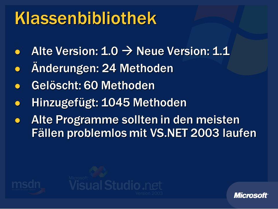 Klassenbibliothek Alte Version: 1.0 Neue Version: 1.1 Alte Version: 1.0 Neue Version: 1.1 Änderungen: 24 Methoden Änderungen: 24 Methoden Gelöscht: 60