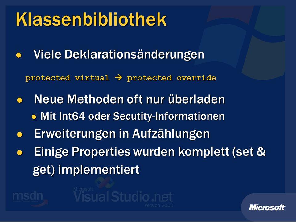 Klassenbibliothek Viele Deklarationsänderungen Viele Deklarationsänderungen protected virtual protected override Neue Methoden oft nur überladen Neue
