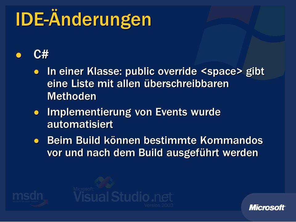 Klassenbibliothek System.Windows.Forms System.Windows.Forms EnableVisualStyles() EnableVisualStyles() Neue Klasse FolderBrowserDialog Neue Klasse FolderBrowserDialog System.Reflection System.Reflection Assembly.LoadFile(…) Assembly.LoadFile(…) Assembly.ImageRuntimeVersion Assembly.ImageRuntimeVersion System.IO.Directory & System.IO.File System.IO.Directory & System.IO.File Creation-, Access- und Write-Time-Methoden Creation-, Access- und Write-Time-Methoden System.Math System.Math BigMul, DivRem BigMul, DivRem