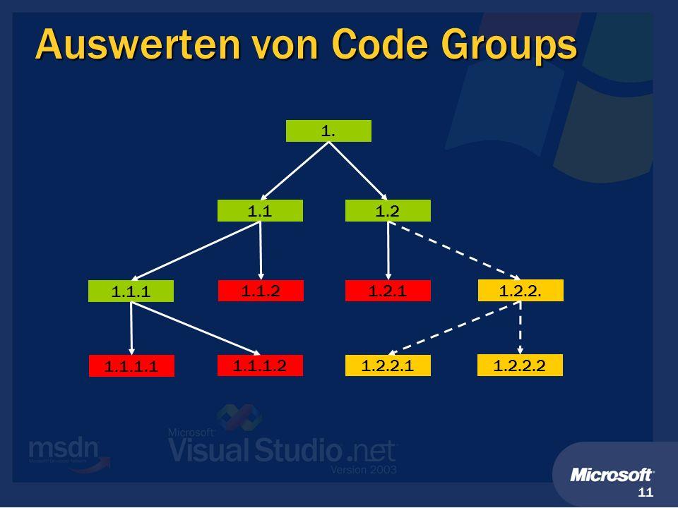 11 Auswerten von Code Groups 1. 1.11.2 1.1.1 1.1.21.2.1 1.2.2. 1.1.1.1 1.1.1.21.2.2.1 1.2.2.2