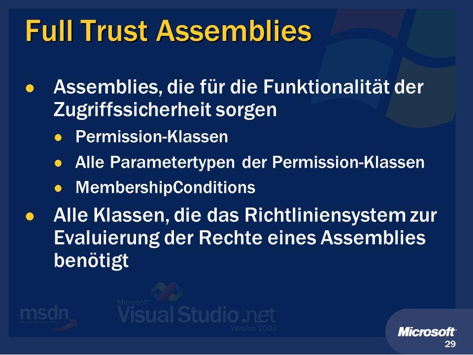 29 Full Trust Assemblies Assemblies, die für die Funktionalität der Zugriffssicherheit sorgen Permission-Klassen Alle Parametertypen der Permission-Kl