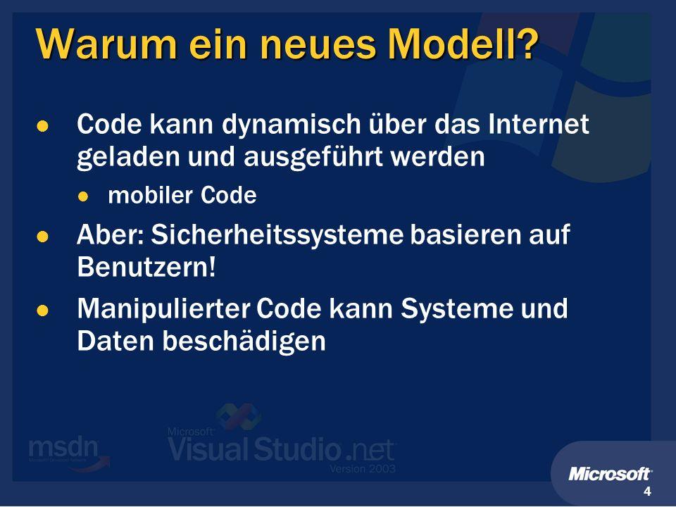 4 Warum ein neues Modell? Code kann dynamisch über das Internet geladen und ausgeführt werden mobiler Code Aber: Sicherheitssysteme basieren auf Benut