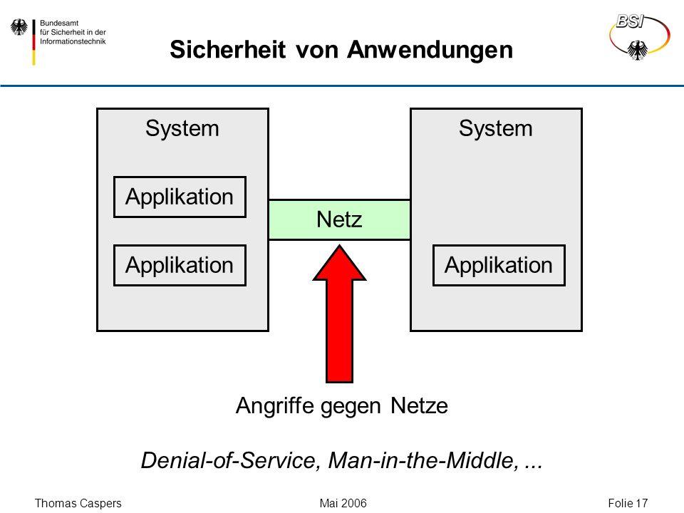 Thomas Caspers Mai 2006 Folie 17 System Sicherheit von Anwendungen Applikation Netz Angriffe gegen Netze Denial-of-Service, Man-in-the-Middle,...