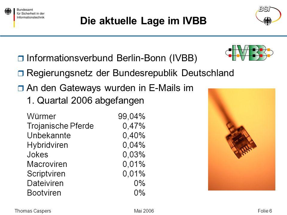 Thomas Caspers Mai 2006 Folie 7 Die aktuelle Lage im IVBB Informationsverbund Berlin-Bonn (IVBB) Regierungsnetz der Bundesrepublik Deutschland An den Gateways wurden in E-Mails im 1.