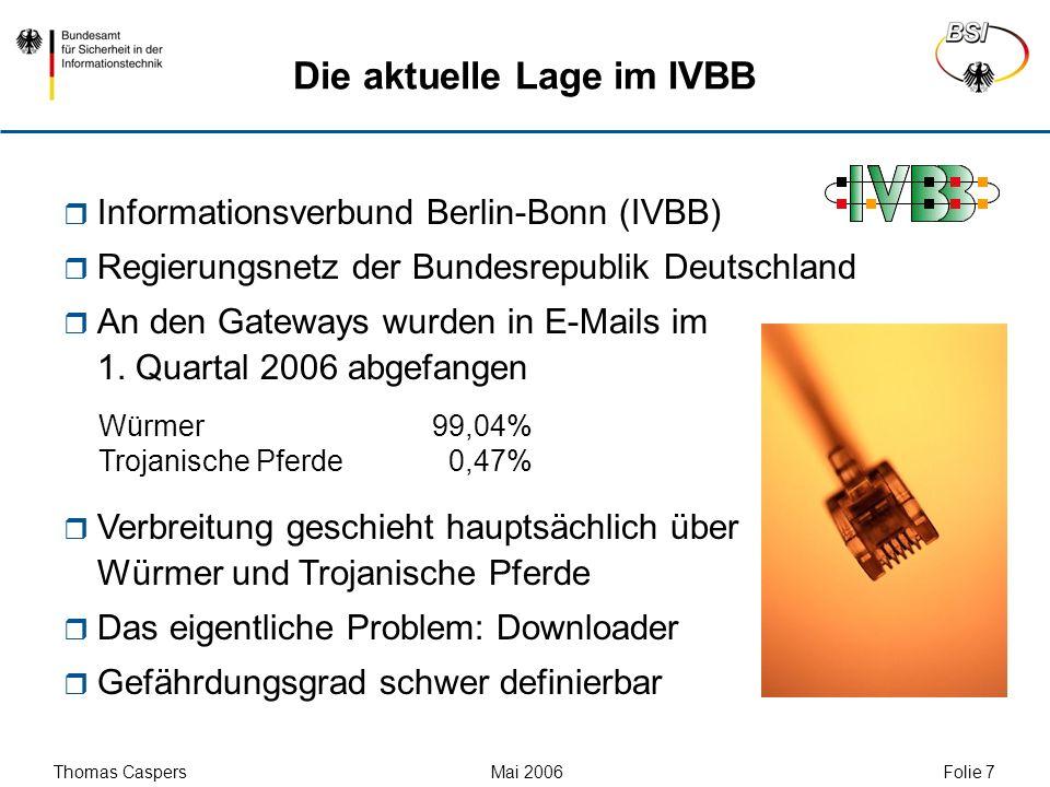 Thomas Caspers Mai 2006 Folie 7 Die aktuelle Lage im IVBB Informationsverbund Berlin-Bonn (IVBB) Regierungsnetz der Bundesrepublik Deutschland An den