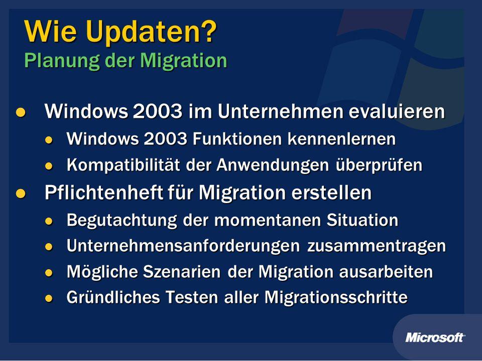 Wie Updaten? Planung der Migration Windows 2003 im Unternehmen evaluieren Windows 2003 im Unternehmen evaluieren Windows 2003 Funktionen kennenlernen