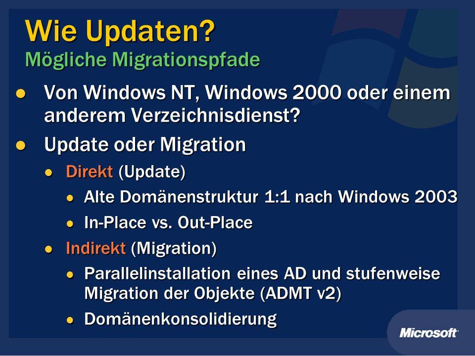 Wie Updaten? Mögliche Migrationspfade Von Windows NT, Windows 2000 oder einem anderem Verzeichnisdienst? Von Windows NT, Windows 2000 oder einem ander