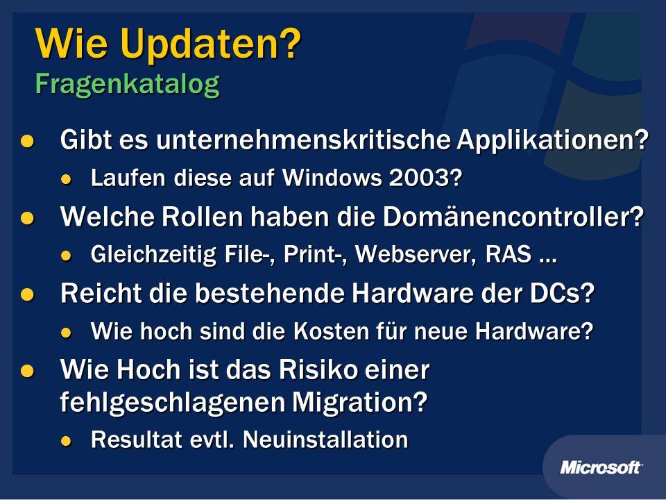 Wie Updaten? Fragenkatalog Gibt es unternehmenskritische Applikationen? Gibt es unternehmenskritische Applikationen? Laufen diese auf Windows 2003? La