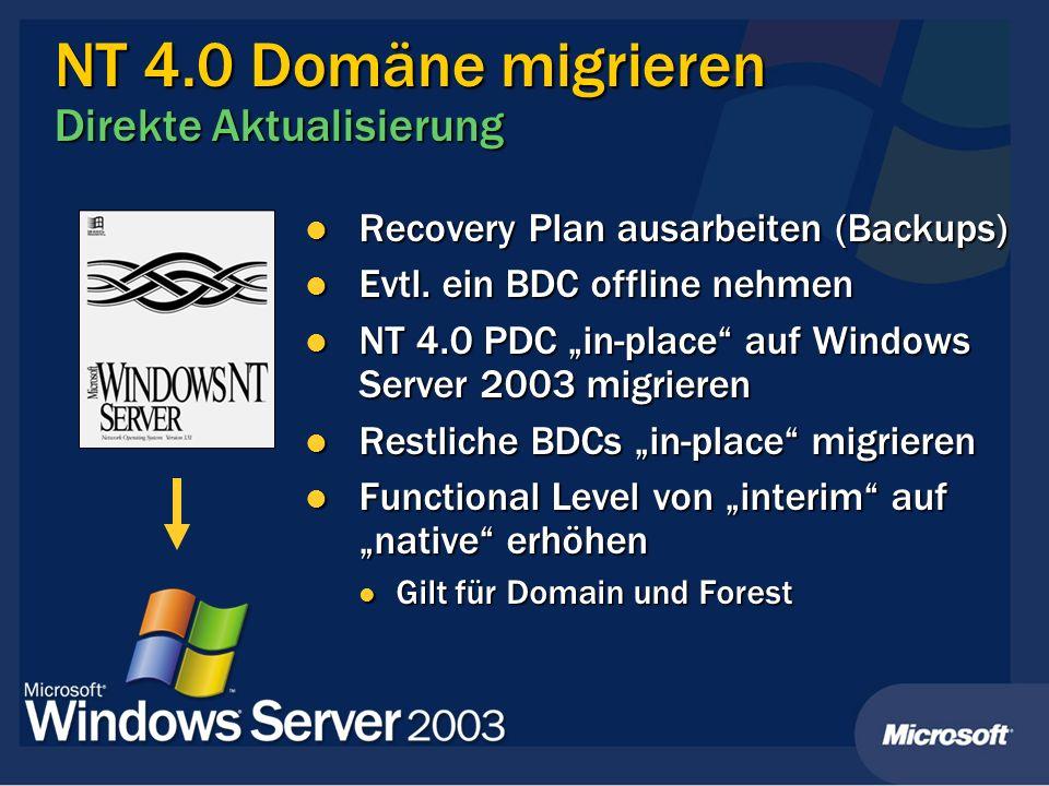 NT 4.0 Domäne migrieren Direkte Aktualisierung Recovery Plan ausarbeiten (Backups) Recovery Plan ausarbeiten (Backups) Evtl. ein BDC offline nehmen Ev