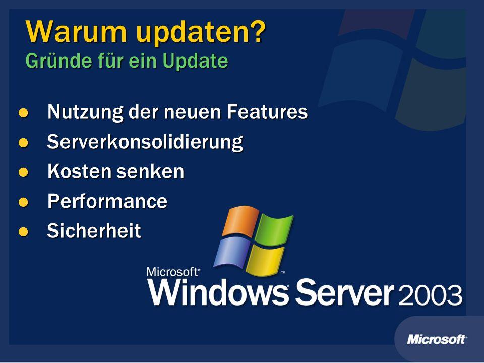 Warum updaten? Gründe für ein Update Nutzung der neuen Features Nutzung der neuen Features Serverkonsolidierung Serverkonsolidierung Kosten senken Kos