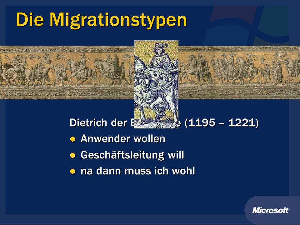 Die Migrationstypen Dietrich der Bedrängte (1195 – 1221) Anwender wollen Anwender wollen Geschäftsleitung will Geschäftsleitung will na dann muss ich