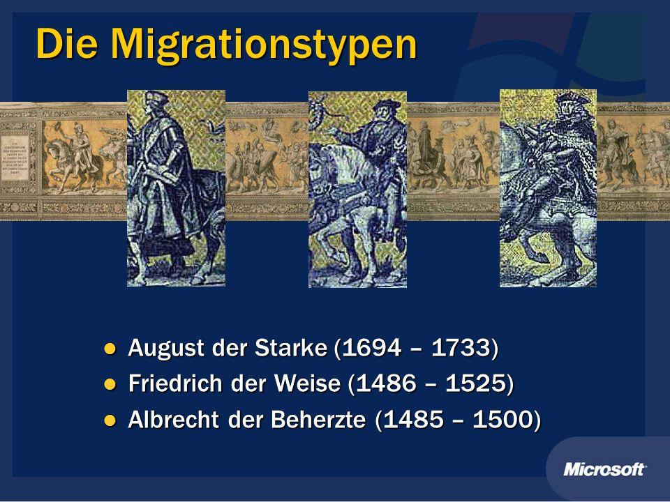 Die Migrationstypen August der Starke (1694 – 1733) August der Starke (1694 – 1733) Friedrich der Weise (1486 – 1525) Friedrich der Weise (1486 – 1525
