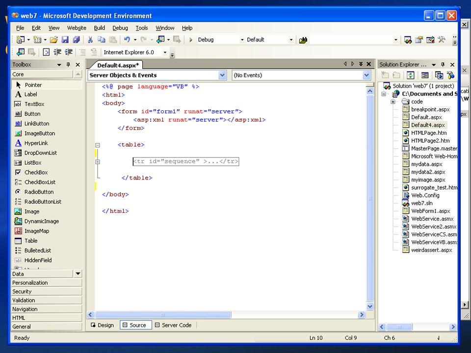 Web Development mit Visual Studio Grundlegende Verbesserungen in Whidbey Intellisense überall Code behind, Inline code, HTML, CSS, ASP.NET Page- Direk
