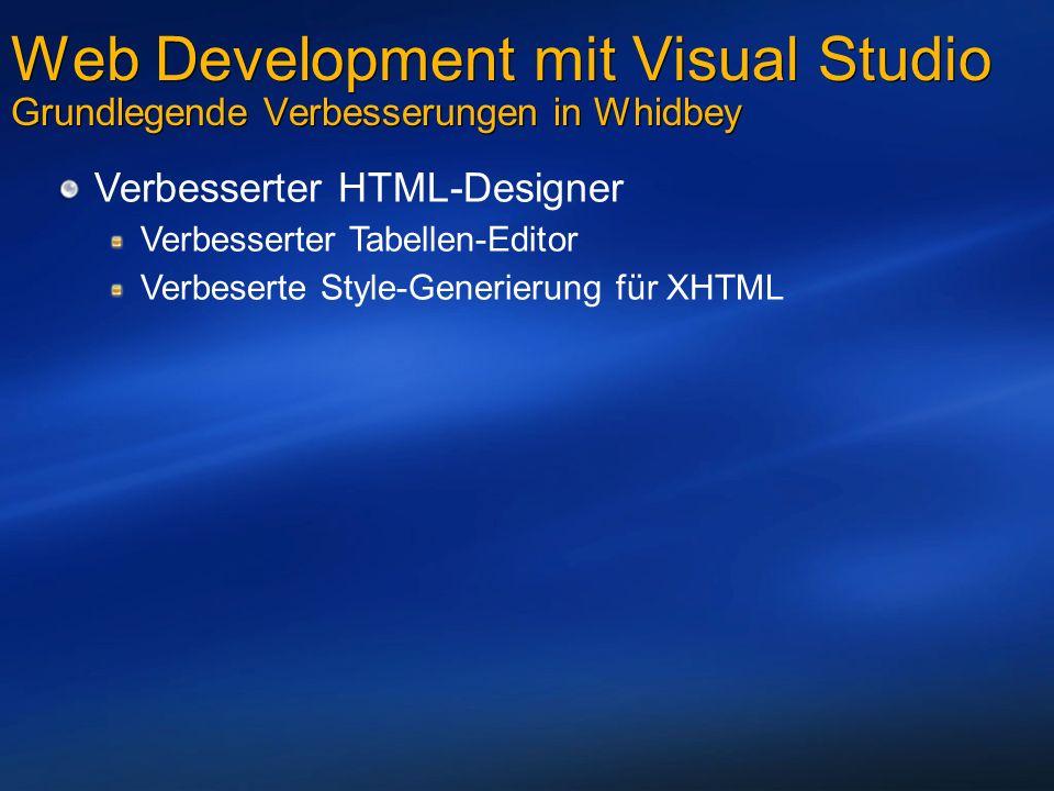 Web Development mit Visual Studio Grundlegende Verbesserungen in Whidbey Verbesserter HTML-Designer Verbesserter Tabellen-Editor Verbeserte Style-Generierung für XHTML