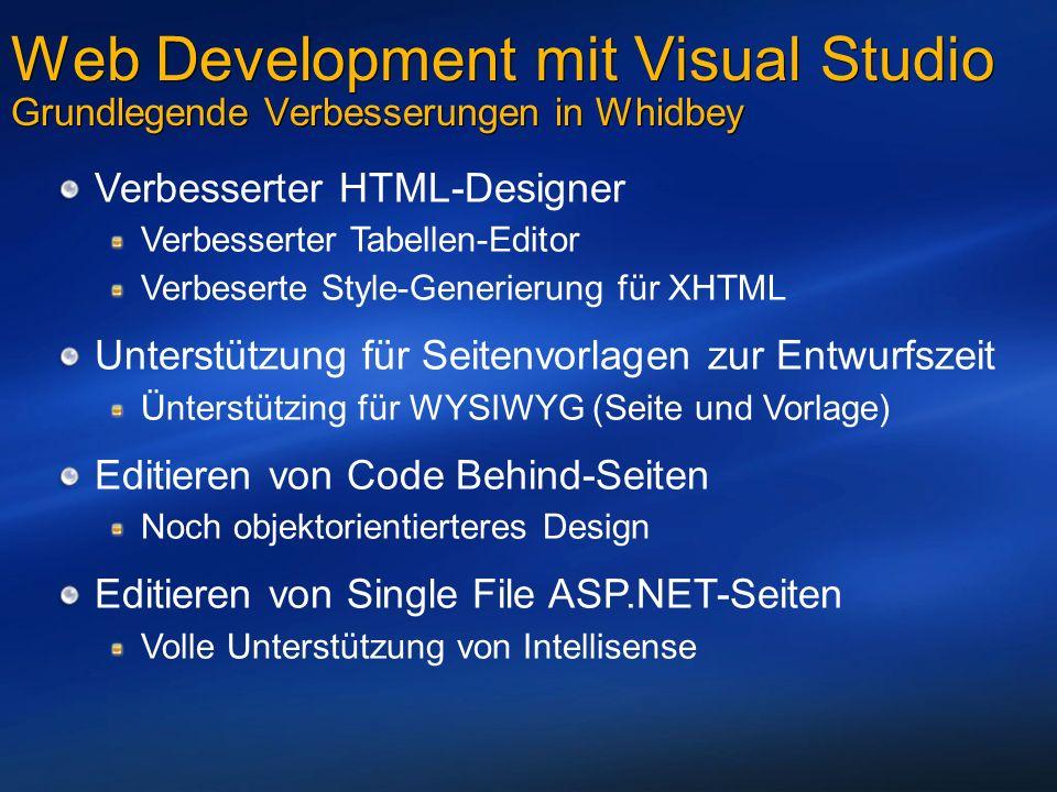 Web Development mit Visual Studio Grundlegende Verbesserungen in Whidbey Verbesserter HTML-Designer Verbesserter Tabellen-Editor Verbeserte Style-Generierung für XHTML Unterstützung für Seitenvorlagen zur Entwurfszeit Ünterstützing für WYSIWYG (Seite und Vorlage) Editieren von Code Behind-Seiten Noch objektorientierteres Design Editieren von Single File ASP.NET-Seiten Volle Unterstützung von Intellisense