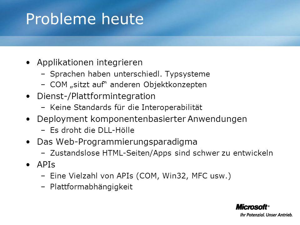 Probleme heute Applikationen integrieren –Sprachen haben unterschiedl. Typsysteme –COM sitzt auf anderen Objektkonzepten Dienst-/Plattformintegration