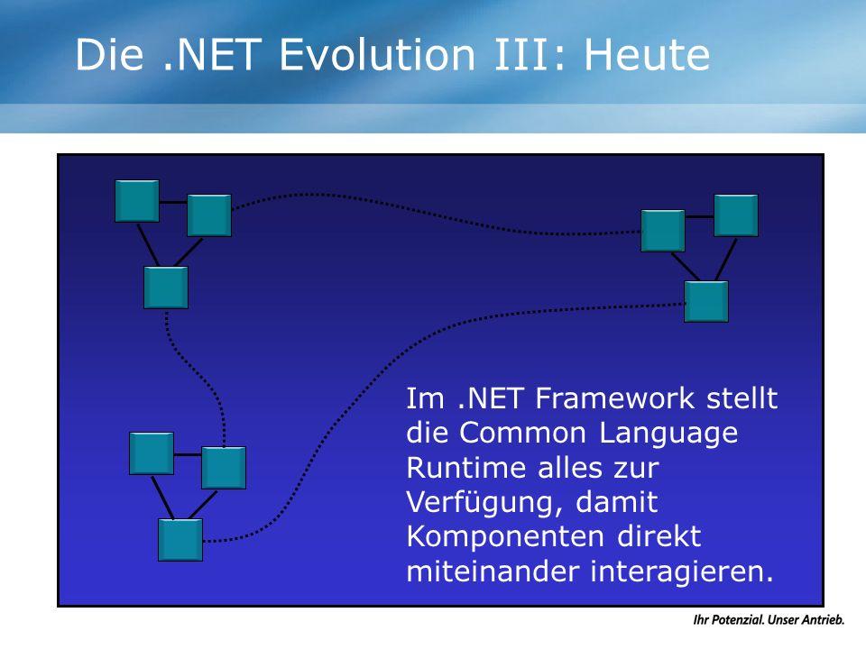 Die.NET Evolution III: Heute Im.NET Framework stellt die Common Language Runtime alles zur Verfügung, damit Komponenten direkt miteinander interagiere